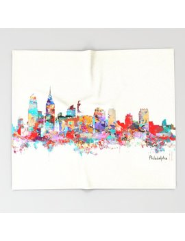 Philadelphia Pennsylvania Skyline Throw Blanket by