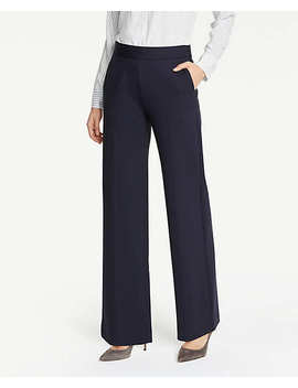 Ponte Side Zip Wide Leg Pants by Ann Taylor