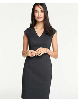 Pindot V Neck Sheath Dress by Ann Taylor