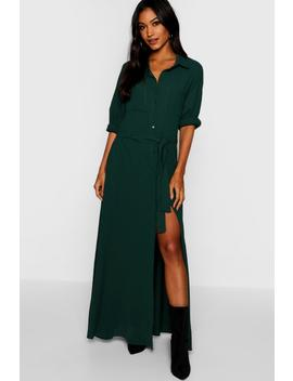 Woven Belted Maxi Shirt Dress by Boohoo