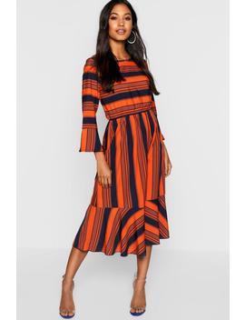 Tonal Stripe Frill Hem Midi Dress by Boohoo