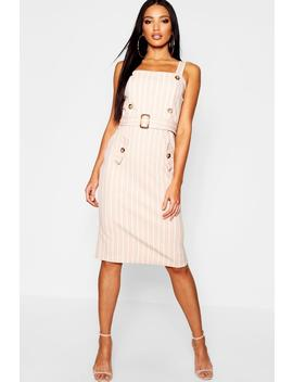 Tonal Stripe Belted Pinafore Dress by Boohoo