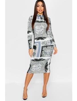 Leopard + Chain Mix Print High Neck Long Sleeve Midi Dress by Boohoo