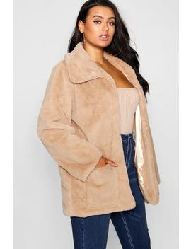 Plus Supersoft Faux Fur Pocket Jacket by Boohoo