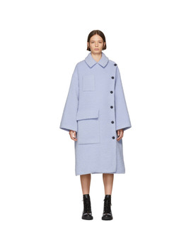 Purple Long Button Coat by Kenzo