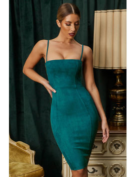 Smooth Ride Cut Out Suede Knee Length Dress In Teal by Oh Polly