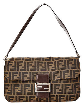 Fendi Brown Zucca Canvas Baguette Bag by Fendi