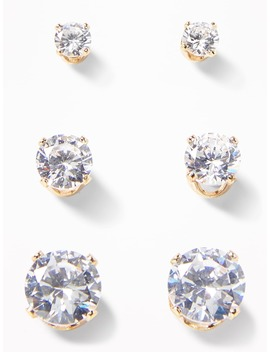 Rhinestone Stud Earrings 3 Pack For Women by Old Navy