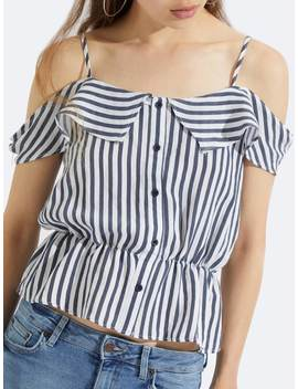 Cold Shoulder Button Detail Striped Top by Shein