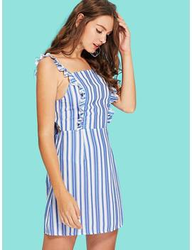Bow Tie Back Frill Trim Striped Dress by Shein