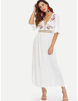 Eyelet Lace Detail Floral Embroidered Applique Dress by Shein
