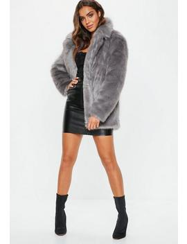 Grey Faux Fur Coat With Collar by Missguided