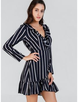 Ruffle Detail V Neck Striped Dress by Shein