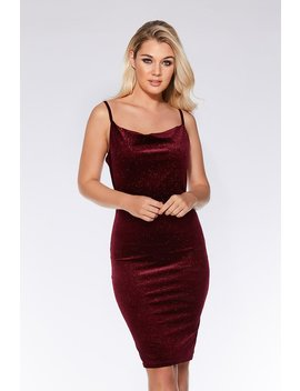 Wine Velvet Glitter Midi Dress by Quiz