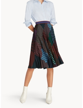 Midi Mixed Stripe Pleat Skirt by Pomelo