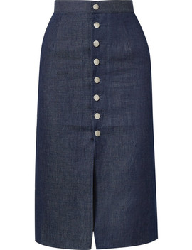 Luz Cotton And Linen Blend Chambray Skirt by Simon Miller