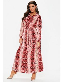 Pink Snake Button Through Maxi Shirt Dress by Missguided