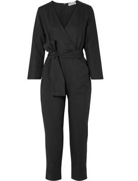 Morena Wrap Effect Tencel And Linen Blend Jumpsuit by Apiece Apart