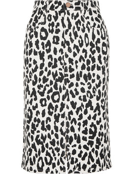 Leopard Print Denim Midi Skirt by See By Chloé