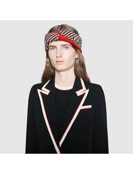 Stirnband Aus Wolle Mit Gg Streifen by Gucci
