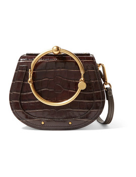 Nile Small Suede Trimmed Croc Effect Leather Shoulder Bag by Chloé