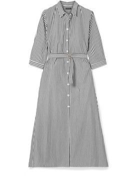 Belted Striped Cotton Poplin Midi Dress by Mds Stripes