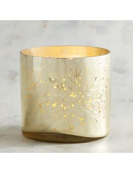 Etched Snowflake Golden Votive Candle Holder by Pier1 Imports