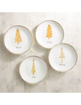 Gold Christmas Tree Appetizer Plate Set by Pier1 Imports