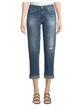 Ex Boyfriend Mid Rise Slim Crop Distressed Jeans by Ag