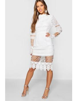 Petite Lace Panelled Midi Dress by Boohoo