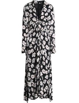 Knotted Floral Print Silk Georgette Midi Dress by Proenza Schouler