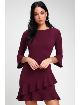 Sensational Statement Plum Purple Ruffled Bodycon Dress by Lulus
