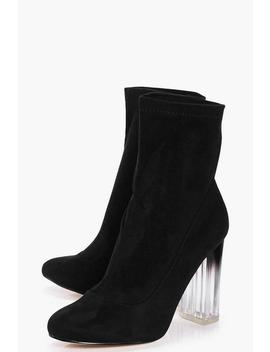 Wide Fit Clear Heel Sock Boots by Boohoo