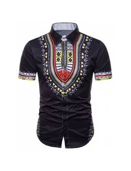 "<P>African Dashiki Short Sleeve Hidden Button Shirt</P><I Class=""Icon Down Js Tap Up Down""></I> by Dress Lily"