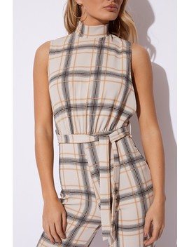 Danna Stone Checked High Neck Jumpsuit by In The Style