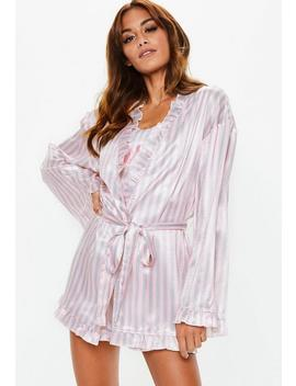 Barbie X Missguided Pink Stripe Satin Dressing Gown by Missguided