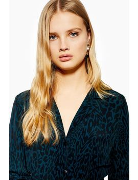 Teal Animal Print Shirt Dress by Topshop