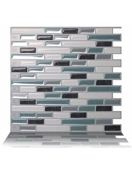 Tic Tac Tiles Anti Mold Peel And Stick Wall Tile In Como Marrone (10 Tiles) by Tic Tac Tiles