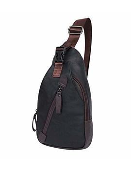 Men's Travel Daypacks Sling Purse Leather Sling Backpack For Walking Crossbody Bag Shoulder Sling Packs Black(Leather) by Holybird