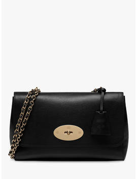 Mulberry Medium Lily Glossy Goat Leather Shoulder Bag, Black/Gold by Mulberry