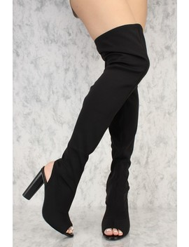 Black Stretchy Lycra Peep Toe Thigh High Chunky Heel Ami Club Wear Boots by Ami Clubwear