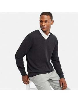 Men Supima® Cotton V Neck Long Sleeve Sweater by Uniqlo