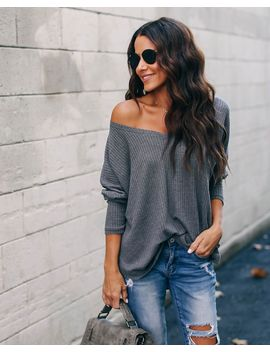 Between Us Thermal Knit Top   Charcoal by Vici