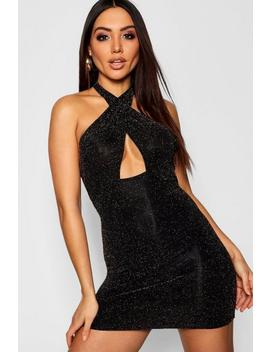 Glitter Wrap Over Plunge Midi Dress by Boohoo