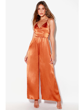 Duboce Rust Orange Satin Wide Leg Jumpsuit by Lush