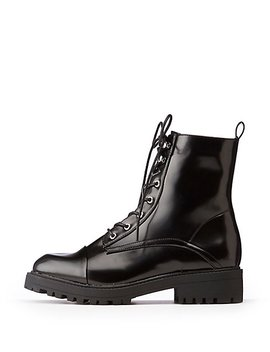 Faux Patent Leather Combat Boots by Charlotte Russe