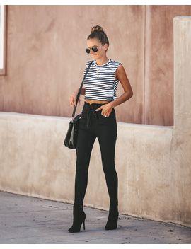 Rumor Has It Paper Bag Waist Skinny   Black by Vici