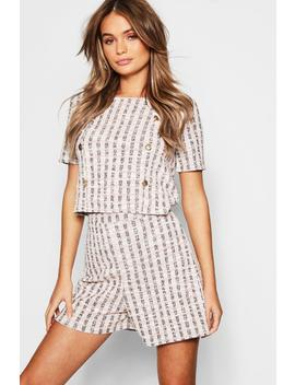 Tweed Button Detail Top + Short Co Ord by Boohoo