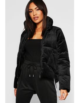 Velvet Funnel Neck Puffer by Boohoo