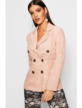 Double Breasted Cord Blazer by Boohoo
